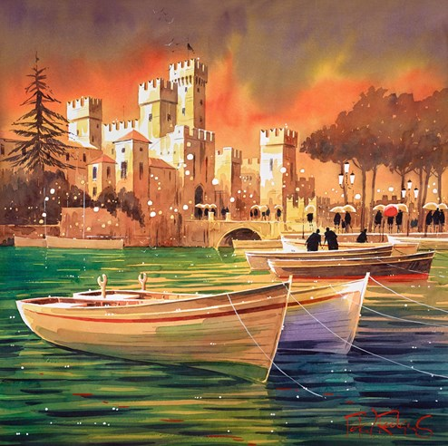 Lake Garda Reflections, Italy by Peter J Rodgers - Original Painting on Paper